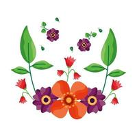 geïsoleerde bloemen met het ontwerp van het bladerenornament