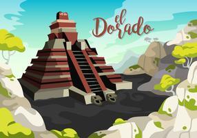 El Dorado tempel vectorillustratie