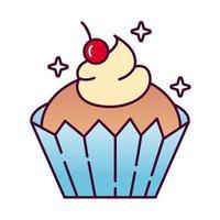 zoete cupcake heerlijke gedetailleerde stijlicoon vector