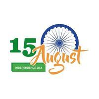 viering van de onafhankelijkheidsdag van india met ashoka chakra vlakke stijl