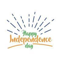 viering van de onafhankelijkheidsdag van india met zonnestraal vlakke stijl vector