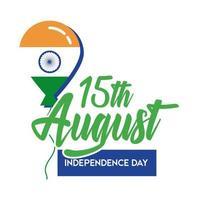 viering van de onafhankelijkheidsdag van india met ballon vlakke stijl vector