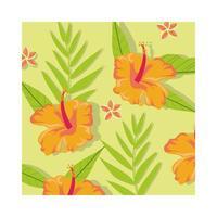 oranje bloemen planten tropische patroon achtergrond vector