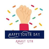 gelukkige jeugddag belettering met hand vuist symbool vlakke stijl