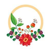 geïsoleerde bloemen rond ontwerp
