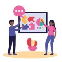 vrouw en man met teamwerk pictogram vector ontwerp