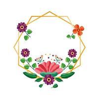 geïsoleerde bloemen frame vector ontwerp