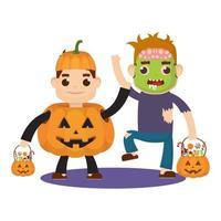 kleine kinderen in halloween-kostuums