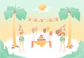 Verjaardagsfeest in het strand vector
