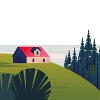 winterlandschapsscène met huis in dennenbos en meer