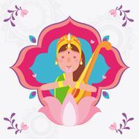 Saraswati vectorillustratie