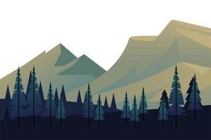 winterseizoen landschapsscène met dennenbos en bergen