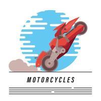 rode futuristische motor en belettering