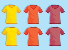 Gekleurde lege t-shirt sjabloon op blauwe vector