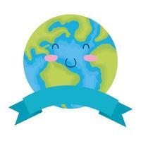 planeet aarde karakter met banner vector