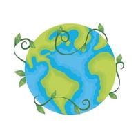 planeet aarde ecologie met tak en bladeren vector