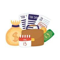 belastingdag 15 april kalender met document en geldzak vectorontwerp