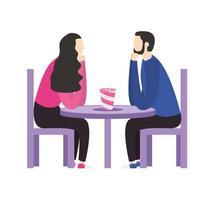 paar vrouw en man aan tafel vector ontwerp