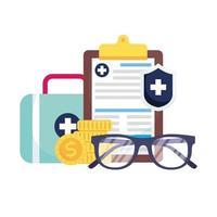 medische kit, schild, document, glazen en munten vector ontwerp