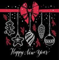 Nieuwjaar speelgoed hand getrokken stijl op zwart met rode strik en sneeuw.