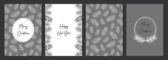 vrolijk kerstfeest set kaarten. gelukkig nieuwjaar. vakantie decoratie. vector