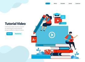 websiteontwerp van videohandleidingen en digitale webinarcursussen. leren en trainen met video's en e-boeken. vlakke afbeelding voor bestemmingspagina-sjabloon, ui ux, website, mobiele app, flyer, brochure vector
