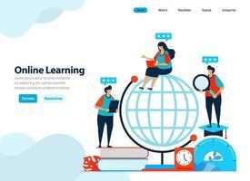 websiteontwerp van online leren en digitaal onderwijs. afstandsonderwijs met internet en innovatie. vlakke afbeelding voor bestemmingspagina-sjabloon, ui ux, website, mobiele app, flyer, brochure, advertenties vector