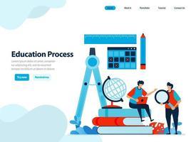 website-ontwerp van onderwijsproces en modern leren. de vaardigheden en capaciteiten van studenten begrijpen. vlakke afbeelding voor bestemmingspagina-sjabloon, ui ux, website, mobiele app, flyer, brochure vector