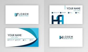 blauwe visitekaartjesjabloon. eenvoudig identiteitskaartontwerp met alfabetlogo en schuine accenten. voor corporate, company, professional, business, reclame, public relations, brochure, poster vector