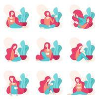 illustratie van een vrouw die ontspannen terwijl het drinken van koffie. ontwerp met vrouwelijk en meisjesachtig gevoel. verschillende stijlen en houdingen van vrouwen terwijl ze koffie drinken en 's middags rusten na een hele dag werken