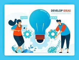 vectorillustratie voor het ontwikkelen van ideeën en samenwerking. menselijke vector stripfiguren. ontwerp voor bestemmingspagina's, web, website, webpagina, mobiele apps, banner, flyer, brochure, poster