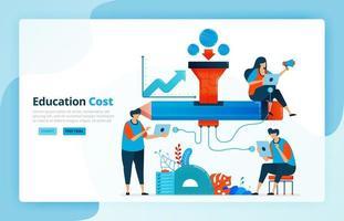 vectorillustratie van activiteiten uit financiering in het onderwijs. beurs en onderwijsnetwerk. financieringsprogramma voor studenten. financiële toegang. ontworpen voor bestemmingspagina, internet, mobiele apps vector
