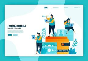 cartoon illustratie van portemonnee en financiën. vector ontwerp voor bestemmingspagina website webbanner mobiele apps poster