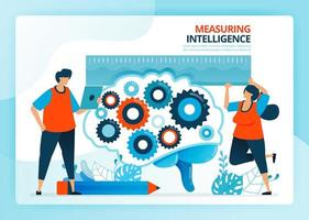 vectorillustratie voor het meten en ontwikkelen van intelligentie van het onderwijs. menselijke vector stripfiguren. ontwerp voor bestemmingspagina's, web, website, webpagina, mobiele apps, banner, flyer, brochure, poster