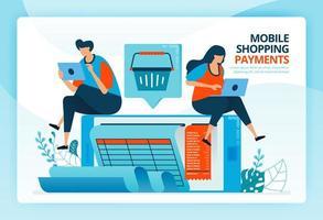 vectorillustratie voor mobiele betaling en winkelrekeningen. menselijke vector stripfiguren. ontwerp voor bestemmingspagina's, web, website, webpagina, mobiele apps, banner, flyer, brochure, poster, software