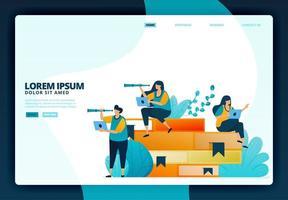 cartoon illustratie van onderwijs en leren met boeken. vector ontwerp voor bestemmingspagina website webbanner mobiele apps poster