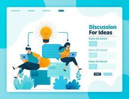bestemmingspagina vector ontwerp van discussie voor ideeën. ontwerp voor website, web, banner, mobiele apps, poster, brochure, sjabloon, billboard, welkomstpagina, promotie, omslag, visitekaartje, advertentie