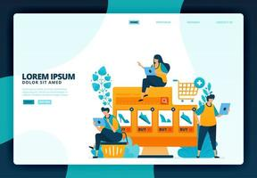 cartoon illustratie van het kopen van mode in e-commerce. vector ontwerp voor bestemmingspagina website webbanner mobiele apps poster