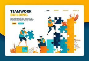 cartoonillustratie van teamwerk en samenwerking bij het verbeteren van de bedrijfsprestaties. planning en strategie voor het ontwikkelen van medewerkers. vector ontwerp voor bestemmingspagina website webbanner mobiele apps poster