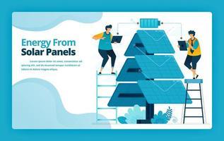 vectorillustratie van bestemmingspagina van alternatieve energie met elektrische distributietechnologie voor zonnepanelen voor het opladen van de batterij. ontwerp voor website, banner, mobiele apps, poster, brochure, sjabloon