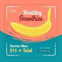 gezonde smoothies op sociale media plaatsen advertenties. poster voor eet- en drinkgelegenheden. kan worden gebruikt voor online media, brochure, flyer, kaart, muuradvertentie, poster, mediapromotie, billboard, apps-advertenties vector
