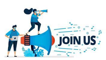 vectorillustratie van sluit zich aan bij ons programma voor werving van werknemers bij nieuwe normale en pandemie. aankondigingen van het inhuren van werknemers. ontwerp kan worden gebruikt voor bestemmingspagina, website, mobiele app, poster, flyers, banner
