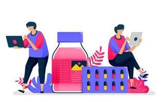 platte vectorillustratie van gezondheidsdiensten. leverancier van vloeibare medicijnen, pillen en medicijnen voor drogisterijen. ontwerp voor de gezondheidszorg. kan worden gebruikt voor bestemmingspagina, website, web, mobiele apps, posters, flyers vector