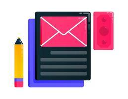 ontwerp voor het schrijven, bewerken, verzenden en gebruiken van een e-mail, doel vinden. kan ook worden gebruikt voor zaken, pictogramontwerp en grafische elementen