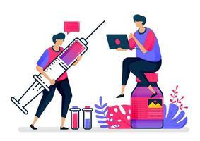 platte vectorillustratie van vaccins en vloeibare medicijnen voor patiënten, ziekenhuizen en volksgezondheid. ontwerp voor de gezondheidszorg. kan worden gebruikt voor bestemmingspagina, website, web, mobiele apps, posters, flyers