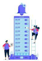 vectorillustratie voor checklist met alarm-apps om wakker te worden. bel-apps om te herinneren en te waarschuwen. kan worden gebruikt voor bestemmingspagina, website, web, mobiele apps, posters, flyers vector