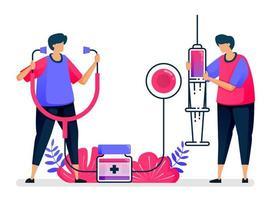 platte vectorillustratie van openbare gezondheidsdiensten voor vaccinatie, behandeling, therapie en geneeskunde. ontwerp voor de gezondheidszorg. kan worden gebruikt voor bestemmingspagina, website, web, mobiele apps, posters, flyers