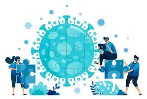 vector illustratie van teamwerk en brainstormen om problemen op te lossen en oplossingen te vinden tijdens de covid-19-viruspandemie. symbool van samenwerking, virus, puzzel. bestemmingspagina, web, website, banner