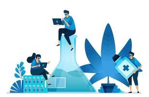 onderzoek naar cannabis en marihuana voor de gezondheid. ganja plant voor de industrie. medische rauwe kruiden voor gezondheidsonderzoek. kan worden gebruikt voor bestemmingspagina, website, web, mobiele apps, flyer, banner, sjabloon, poster vector