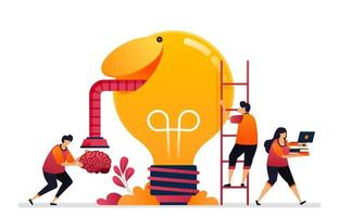 vectorillustratie van het zoeken naar ideeën, oplossingen, het openen van uw creatieve geest. hersensymbool van inspiratie. grafisch ontwerp voor bestemmingspagina, web, website, mobiele apps, banner, sjabloon, poster, flyer